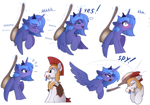 Size: 2300x1604 | Tagged: safe, artist:yakovlev-vad, princess luna, alicorn, earth pony, pony, ..., :t, angry, armor, back scratching, blushing, bonk, brush, brushie, brushing, caught, chest fluff, colored, cute, ear fluff, emanata, embarrassed, eye contact, eyes closed, female, filly, floppy ears, glare, grin, heart, hitting, leg fluff, levitation, lidded eyes, lip bite, looking at each other, lunabetes, madorable, magic, male, mare, mouth hold, onomatopoeia, royal guard, royal guard armor, s1 luna, scratching, scroll, simple background, sitting, smack, smiling, spread wings, stallion, telekinesis, text, white background, wide eyes, wings, woona, younger