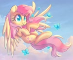 Size: 1600x1315 | Tagged: safe, artist:musicfirewind, fluttershy, butterfly, pegasus, pony, cloud, cute, female, flying, mare, shyabetes, sky, solo