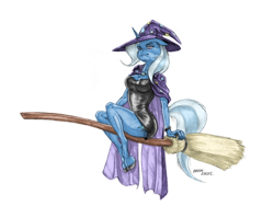 Size: 1400x1052 | Tagged: safe, artist:baron engel, color edit, edit, trixie, unicorn, anthro, unguligrade anthro, broom, cape, clothes, colored, colored hooves, female, flying, flying broomstick, halloween, hat, holiday, pencil drawing, simple background, solo, traditional art, transparent background, trixie's cape, trixie's hat, witch