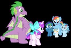 Size: 1280x870   Tagged: safe, artist:aleximusprime, princess flurry heart, rainbow dash, spike, oc, oc:lightning flash, oc:misty blitz, oc:storm streak, alicorn, dragon, pegasus, pony, flurry heart's story, baby, bow, butt, calming of the storm, children, colt, fat spike, female, foal, kids, male, momma dash, mother, offspring, parent:oc:thunderhead, parent:rainbow dash, parents:canon x oc, plot, simple background, transparent background, vector, winged spike, wings