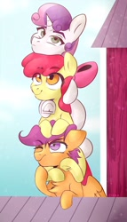 Size: 1234x2160 | Tagged: safe, artist:udara, apple bloom, scootaloo, sweetie belle, earth pony, pegasus, pony, unicorn, adorabloom, barn, bow, commission, cute, cutealoo, cutie mark crusaders, diasweetes, female, filly, hair bow, mare, pony pile, smiling, tower of pony, underhoof