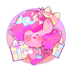 Size: 4000x4000   Tagged: artist needed, safe, pinkie pie, beady eyes, candy, chibi, clothes, cute, diapinkes, food, no nose, open mouth, present, sailor uniform, simple background, sitting, socks, solo, transparent background, uniform