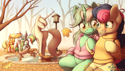 Size: 3840x2160 | Tagged: safe, artist:ohemo, applejack, bon bon, lyra heartstrings, rainbow dash, sweetie drops, winona, bird, dog, duck, earth pony, pegasus, pony, unicorn, semi-anthro, autumn, bench, canon ship, clothes, female, holding hooves, jacket, lamppost, leaf, leaves, lesbian, lyrabon, mare, mouth hold, scarf, scenery, shipping, sitting, smiling, statue, sweater, tongue out