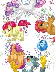 Size: 720x937 | Tagged: safe, artist:texasuberalles, apple bloom, babs seed, gabby, imp the mimicker, scootaloo, sweetie belle, earth pony, griffon, mimicker, pegasus, pony, unicorn, idw, adorababs, adorabloom, cloven hooves, confetti, cute, cutealoo, cutie mark crusaders, diasweetes, dock, eyes closed, female, filly, frog (hoof), holding a pony, juggling, laughing, looking at you, looking up, open mouth, simple background, smiling, underhoof, white background