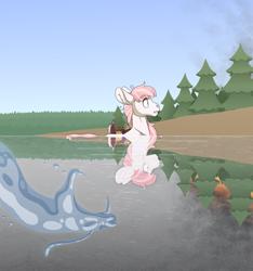 Size: 3000x3200 | Tagged: safe, artist:jackiebloom, princess celestia, oc, earth pony, pony, cewestia, female, filly, fire, story included, water, younger