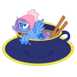 Size: 1700x1700 | Tagged: safe, artist:katelynleeann42, oc, oc only, oc:snuggle, pegasus, pony, clothes, cup, cup of pony, female, mare, micro, scarf, simple background, solo, transparent background