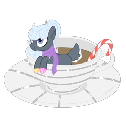 Size: 1700x1700 | Tagged: safe, artist:katelynleeann42, oc, oc:cuddles, earth pony, pony, candy, candy cane, clothes, cup, cup of pony, deer tail, female, food, mare, micro, scarf, simple background, solo, transparent background