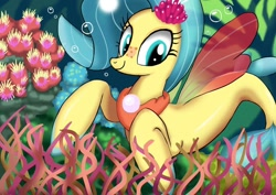 Size: 1024x724 | Tagged: safe, artist:neoshrek, princess skystar, seapony (g4), bioluminescent, blue eyes, bubble, coral, cute, dorsal fin, female, fin wings, fins, fish tail, flower, flower in hair, freckles, glow, jewelry, necklace, pearl necklace, seaweed, skyabetes, smiling, solo, tail, underwater, water, wings