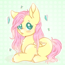 Size: 900x900 | Tagged: safe, artist:saltyvity, fluttershy, butterfly, pegasus, pony, abstract background, blush sticker, blushing, chest fluff, colored hooves, cute, female, folded wings, looking at you, lying down, mare, missing cutie mark, no pupils, prone, shyabetes, solo, three quarter view, tongue out, unshorn fetlocks, wings