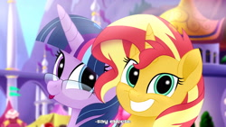Size: 3840x2160 | Tagged: safe, artist:aryatheeditor, derpibooru exclusive, sci-twi, sunset shimmer, twilight sparkle, pony, unicorn, equestria girls, my little pony: the movie, :p, background pony, beautiful, canterlot, canterlot castle, cute, cutie mark, digital art, element of magic, equestria girls ponified, excited, female, geode of empathy, geode of telekinesis, glasses, grin, heterochromia, lesbian, magical geodes, movie accurate, nerd, outfit, photo, ponified, powerful sparkle, scitwishimmer, shimmerbetes, shipping, smiling, sunsetsparkle, tongue out, twiabetes
