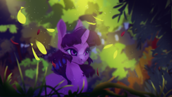 Size: 1920x1080 | Tagged: safe, artist:hierozaki, twilight sparkle, unicorn, forest, leaves, solo, unicorn twilight