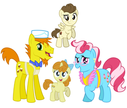 Size: 1280x1089 | Tagged: safe, artist:aleximusprime, carrot cake, cup cake, pound cake, pumpkin cake, earth pony, pegasus, unicorn, flurry heart's story, apron, bow, brother and sister, cake family, clothes, colt, ear piercing, earring, family, family photo, female, filly, freckles, glasses, husband and wife, ice cream hat, jewelry, male, mare, married couple, older, older pound cake, older pumpkin cake, parent:carrot cake, parent:cup cake, piercing, siblings, simple background, stallion, the cakes, transparent background