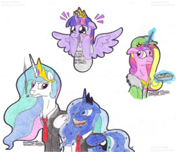 Size: 1349x1167 | Tagged: safe, artist:artistnjc, princess cadance, princess celestia, princess luna, twilight sparkle, alicorn, pony, two best sisters play, blush sticker, blushing, clothes, excited, food, hat, hooves on cheeks, jacket, levitation, magic, magic aura, mouth hold, necktie, open mouth, pie, sandwich, shirt, simple background, sisters-in-law, smiling, smoking, spread wings, suit, super best friends play, super best sisters play, telekinesis, twilight sparkle (alicorn), wings