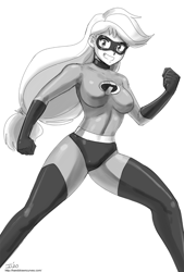 Size: 1000x1480 | Tagged: safe, artist:johnjoseco, applejack, human, breasts, busty applejack, clothes, cosplay, costume, elastigirl, female, grin, humanized, monochrome, open mouth, smiling, superhero costume, the incredibles