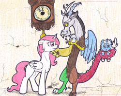 Size: 1385x1089 | Tagged: safe, artist:artistnjc, discord, princess celestia, princess luna, alicorn, draconequus, pony, angry, baby, baby luna, baby pony, clock, crystal ball, dislestia, female, filly, freckles, labyrinth (movie), male, missing cutie mark, pink-mane celestia, prehensile tail, shipping, simple background, smiling, straight, tail hold, woona, young, young celestia, younger