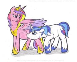 Size: 1133x911 | Tagged: safe, artist:artistnjc, princess cadance, shining armor, alicorn, pony, unicorn, baby bump, female, kissing, male, pregdance, pregnant, proud parents, raised hoof, shiningcadance, shipping, smiling, straight