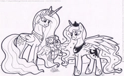 Size: 1600x980 | Tagged: safe, artist:artistnjc, princess celestia, princess flurry heart, princess luna, alicorn, pony, family, great aunt and niece, happy, monochrome, simple background, smiling, spread wings, wings