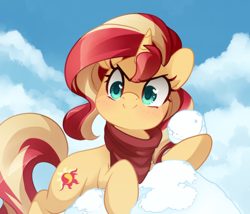 Size: 1168x1000 | Tagged: safe, artist:loyaldis, sunset shimmer, pony, unicorn, clothes, cloud, cute, evil grin, female, grin, heart eyes, mare, pure unfiltered evil, scarf, shimmerbetes, sky, smiling, snow, snowball, solo, wingding eyes, winter