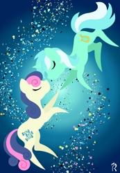 Size: 1800x2600   Tagged: safe, artist:dawn-designs-art, bon bon, lyra heartstrings, sweetie drops, earth pony, pony, unicorn, abstract, abstract art, abstract background, commissions open, duo, eyes closed, female, floating, lesbian, lyrabon, minimalist, modern art, shipping
