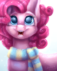 Size: 4000x5000   Tagged: safe, artist:themessyfangirl, pinkie pie, earth pony, clothes, colored pupils, cute, diapinkes, female, happy, mare, open mouth, scarf, snow, snowfall, solo, weapons-grade cute, winter