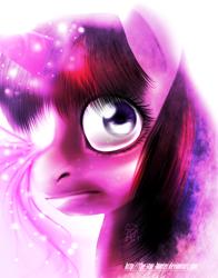 Size: 604x771 | Tagged: safe, artist:the-star-hunter, twilight sparkle, pony, unicorn, bust, female, glowing horn, horn, magic, mare, signature, solo, telekinesis, unicorn twilight