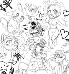 Size: 2229x2377 | Tagged: safe, artist:the-star-hunter, fluttershy, bear, human, pegasus, pikachu, pony, animatronic, baseball cap, bust, cap, crossover, five nights at freddy's, freddy fazbear, frown, hat, kirby, lineart, monochrome, one eye closed, pokémon, sitting, sketch, sketch dump, smiling, top hat, wink