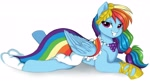 Size: 3804x2126 | Tagged: safe, artist:nijidashiey7, rainbow dash, pegasus, pony, clothes, dress, female, gala dress, high res, lying down, mare, prone, simple background, smiling, solo, white background