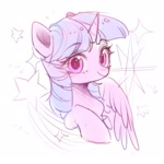 Size: 1772x1772 | Tagged: safe, artist:leafywind, twilight sparkle, alicorn, pony, bust, cute, female, looking at you, mare, shooting star, simple background, sketch, solo, stars, twiabetes, twilight sparkle (alicorn), white background