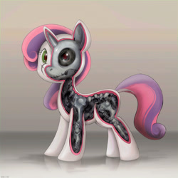 Size: 2400x2400 | Tagged: safe, artist:darkdoomer, sweetie belle, pony, robot, robot pony, female, filly, solo, sweetie bot