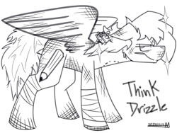 Size: 5193x3900 | Tagged: safe, artist:adilord, pegasus, pony, annoyed, bandage, bitten, black and white, grayscale, injured, messy, messy tail, monochrome, simple background, soap, soap bubble, spread wings, white background, wings