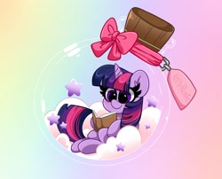 Size: 3100x2500 | Tagged: safe, artist:kittyrosie, twilight sparkle, pony, book, cute, high res, pony in a bottle, reading, sitting, stars, twiabetes