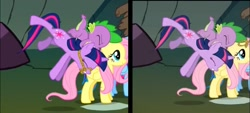 Size: 1221x550 | Tagged: safe, screencap, spike, twilight sparkle, a dog and pony show, animation error, bridle, tack