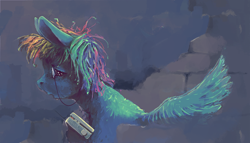 Size: 2150x1229 | Tagged: safe, artist:sharpieboss, rainbow dash, pegasus, pony, brick wall, female, fluffy, mare, monocle, radio, solo, solo female, spread wings, wings