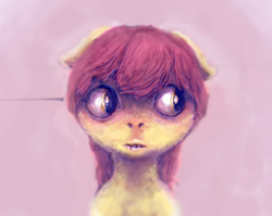 Size: 2163x1719 | Tagged: safe, artist:sharpieboss, apple bloom, bust, female, filly, floppy ears, foal, missing accessory, pink background, scared, simple background, solo, solo female, uncanny valley, wide eyes