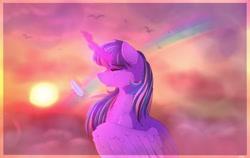 Size: 2048x1297 | Tagged: safe, artist:aaa-its-spook, twilight sparkle, alicorn, bird, cloud, crying, feather, female, implied lesbian, implied rainbow dash, implied shipping, implied twidash, magic, mare, rainbow, sun, tears of joy, teary eyes, telekinesis, twilight sparkle (alicorn)