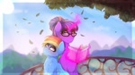 Size: 1024x576 | Tagged: safe, artist:aaa-its-spook, rainbow dash, twilight sparkle, alicorn, pegasus, pony, alternate hairstyle, book, female, glasses, hair bun, leaf, lesbian, magic, mare, shipping, size difference, telekinesis, tree, twidash