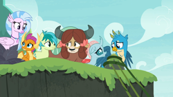 Size: 1366x768 | Tagged: safe, screencap, gallus, ocellus, sandbar, silverstream, smolder, yona, changedling, changeling, dragon, earth pony, griffon, hippogriff, pony, yak, non-compete clause, dragoness, female, male, student six