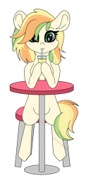 Size: 3050x6268 | Tagged: safe, artist:kireiinaa, oc, oc:citrus zest, pony, drinking straw, female, glass, mare, simple background, solo, table, transparent background