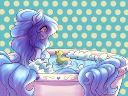 Size: 2160x1620 | Tagged: safe, alternate version, artist:demon-belle, oc, oc:dozy down, earth pony, pony, bathtub, female, mare, rubber duck, solo