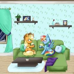 Size: 3098x3098 | Tagged: safe, artist:galaxy swirl, applejack, rainbow dash, earth pony, pegasus, pony, appledash, female, lesbian, shipping