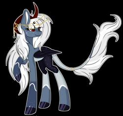 Size: 6792x6423 | Tagged: safe, artist:kireiinaa, oc, oc:lunari, pegasus, pony, absurd resolution, female, horns, mare, simple background, solo, transparent background