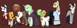 Size: 1280x462   Tagged: safe, artist:askmerriweatherauthor, oc, oc only, oc:china saucer, oc:meadow lark (ask merriweather), oc:merriweather, oc:mumbles, oc:penwright, oc:teabiscuits, oc:techno wizard, earth pony, pegasus, pony, unicorn, ask merriweather, clothes, colt, dress, female, glasses, hat, male, mare, pants, shirt, stallion, suit