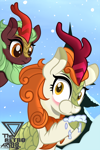 Size: 1500x2259 | Tagged: safe, artist:theretroart88, autumn blaze, cinder glow, summer flare, kirin, eating, snow, snowfall, tree