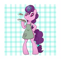Size: 2412x2412   Tagged: safe, artist:pfeffaroo, sugar belle, unicorn, semi-anthro, abstract background, apron, bipedal, clothes, cookie, female, food, mare, solo