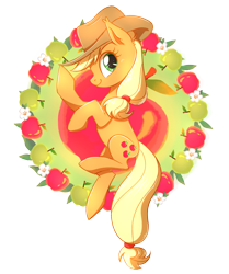 Size: 1511x1806 | Tagged: safe, artist:nessaka-v, artist:nessakav, part of a set, applejack, earth pony, pony, apple, female, flower, food, green apple, mare, profile, simple background, solo, transparent background