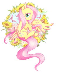 Size: 1511x1934 | Tagged: safe, artist:nessaka-v, artist:nessakav, part of a set, fluttershy, butterfly, pegasus, pony, cute, ear fluff, female, flower, looking at you, mare, profile, shyabetes, simple background, solo, sunflower, transparent background