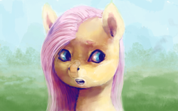 Size: 3097x1936 | Tagged: safe, artist:sharpieboss, fluttershy, pegasus, pony, bandaid, bust, eyebrows, female, grass, grass field, mare, nose bandaid, open mouth, sky, solo, solo female, tree
