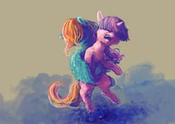 Size: 2912x2059 | Tagged: safe, artist:sharpieboss, rainbow dash, twilight sparkle, pegasus, pony, unicorn, duo, duo female, embrace, female, lesbian, mare, shipping, twidash, unicorn twilight, wing hold