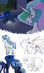 Size: 1280x2103 | Tagged: safe, artist:doggie31, princess celestia, princess luna, oc, oc:princess artemis, oc:princess eris, alicorn, draconequus, hybrid, pony, alicorn oc, baby, baby pony, cousins, draconequus oc, female, foal, horn, interspecies offspring, magical parthenogenic spawn, mother and child, mother and daughter, offspring, parent:discord, parent:princess celestia, parent:princess luna, parents:dislestia, story included, wing shelter, wings