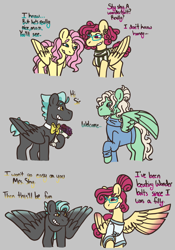 Size: 864x1235 | Tagged: safe, artist:justanotherfan-trash, fluttershy, gentle breeze, posey shy, thunderlane, pegasus, pony, bouquet, bowtie, dialogue, female, flower, gray background, in-laws, male, mare, one wing out, shipping, simple background, stallion, straight, thundershy, wings